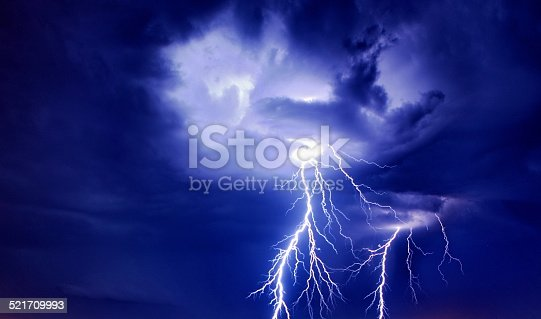 istock Bright lightning from the clouds 521709993