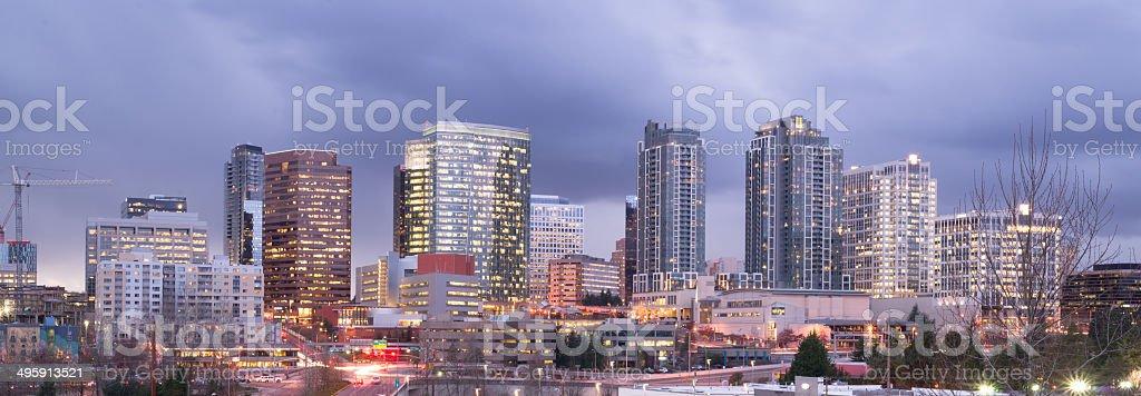 Bright Lights City Skyline Downtown Bellevue Washington United States stock photo