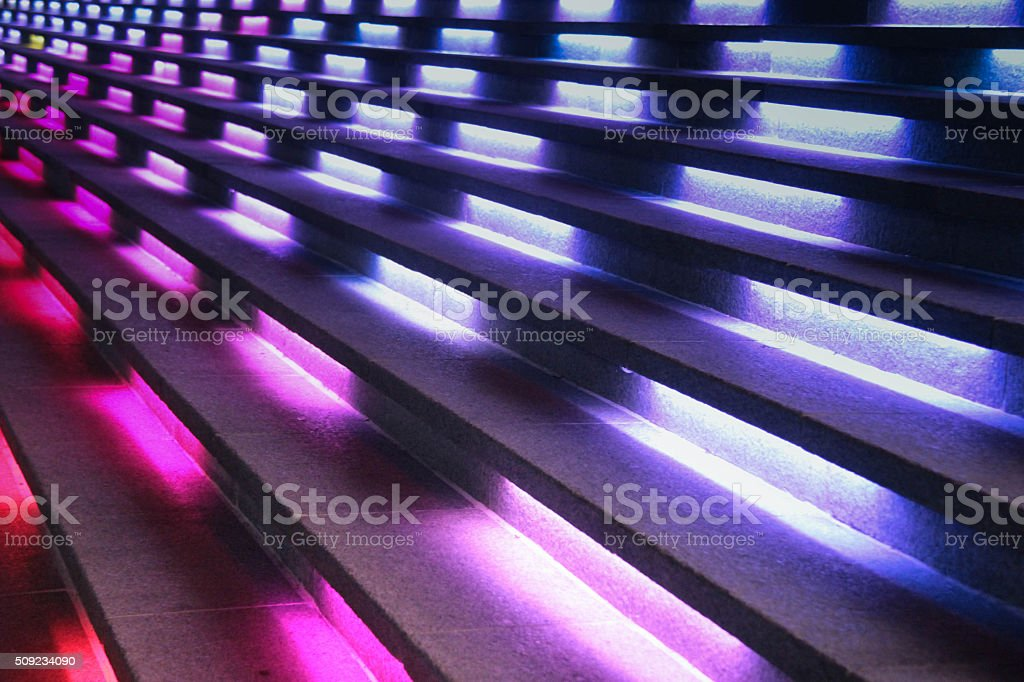 Bright lights from staircase stock photo