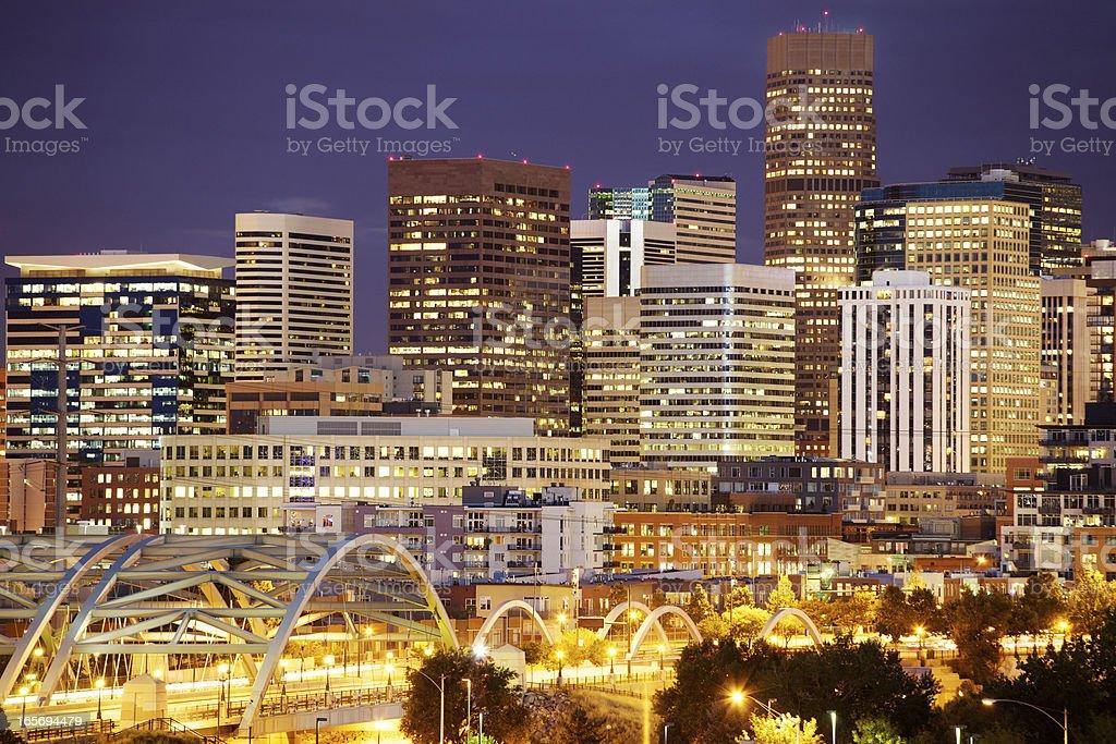 Bright lights in Denver's skyline at night stock photo