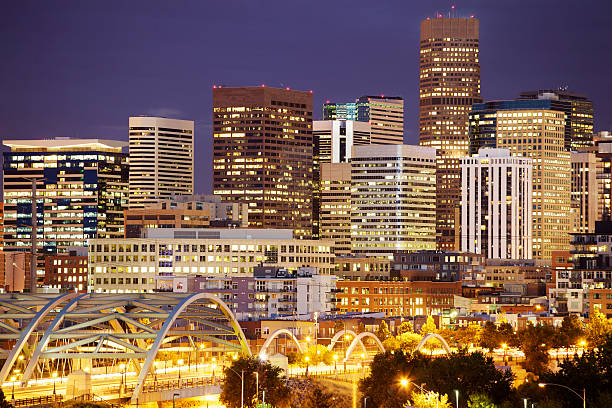 Bright lights in Denver's skyline at night stock photo