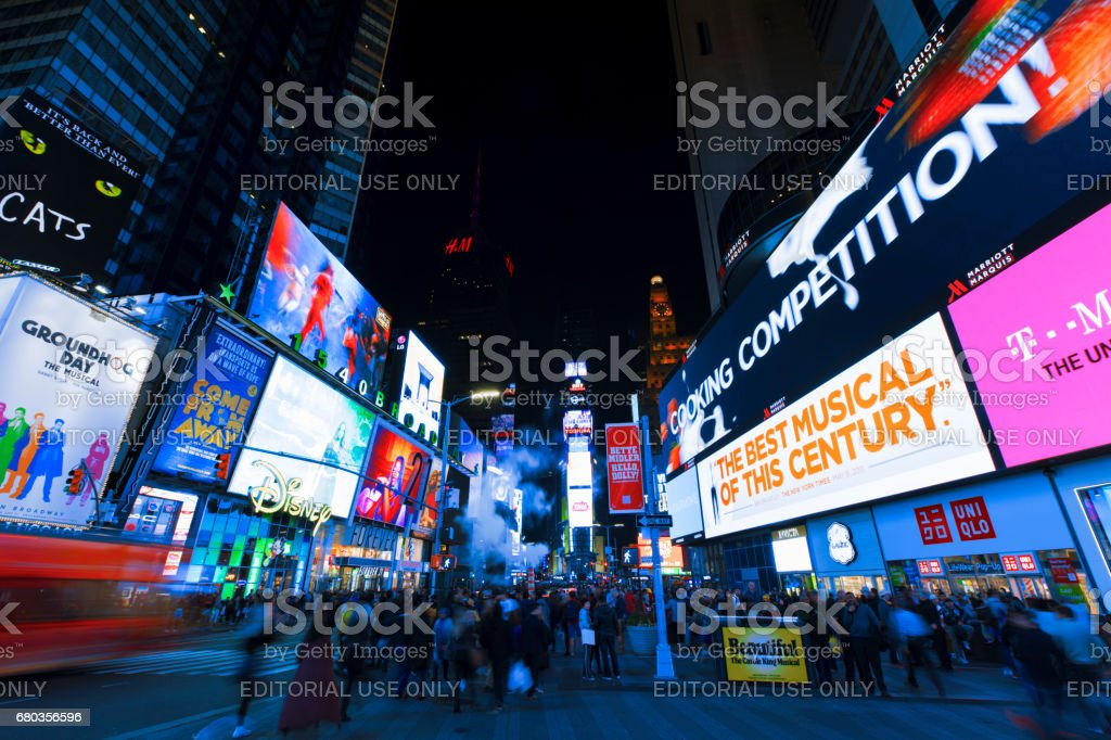 Bright lights of New York City Times Square at night. royalty-free stock photo