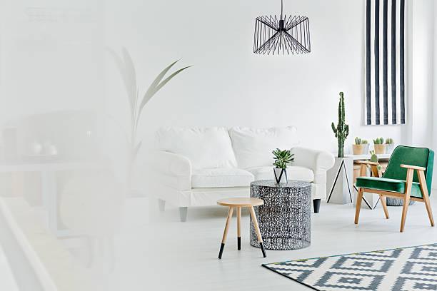 bright living room with sofa - kleiner couchtisch stock-fotos und bilder