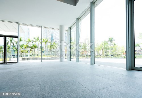 1035478670 istock photo Bright lobby in morden office building 1189872705