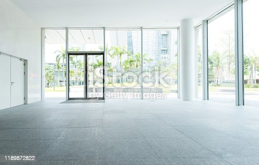 1035478670 istock photo Bright lobby in morden office building 1189872822