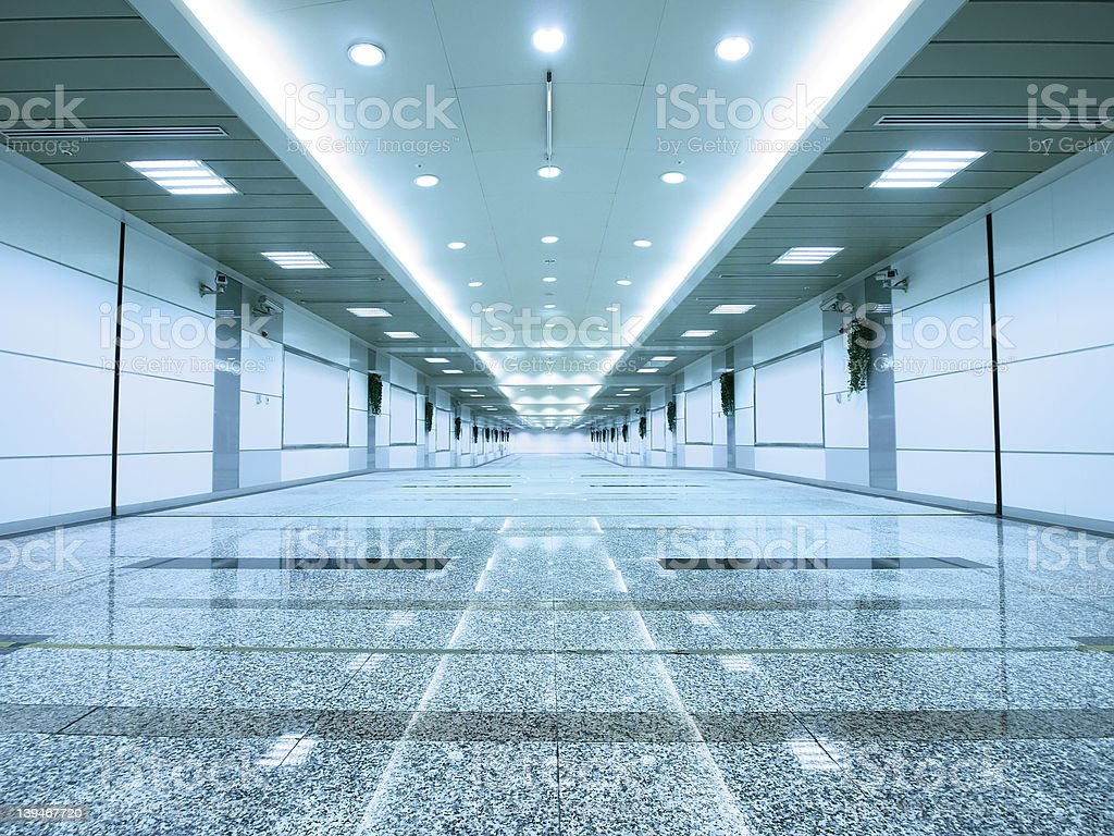 Bright long corridor stock photo