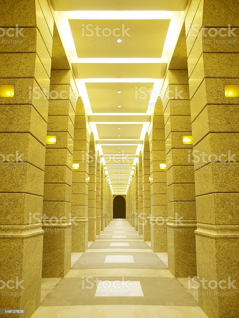 Bright long corridor royalty-free stock photo