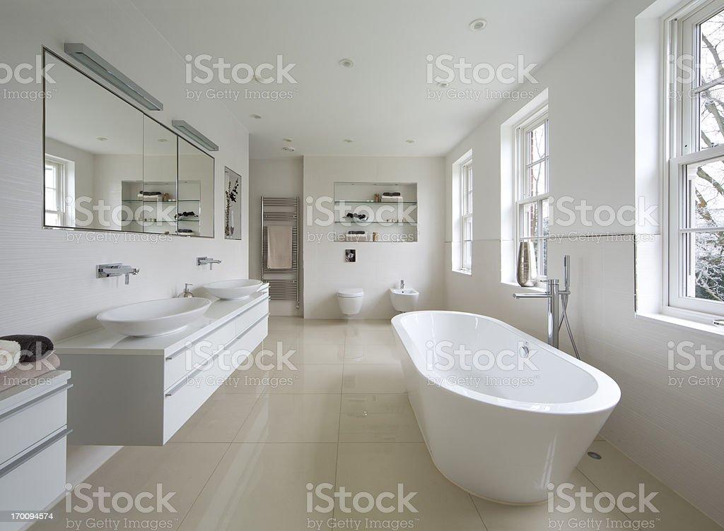 bright luxury bathroom stock photo