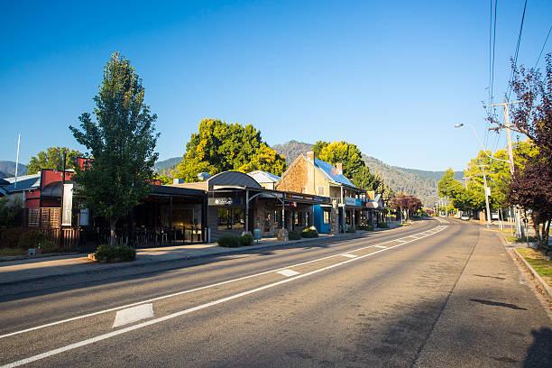 Bright Main Street stock photo