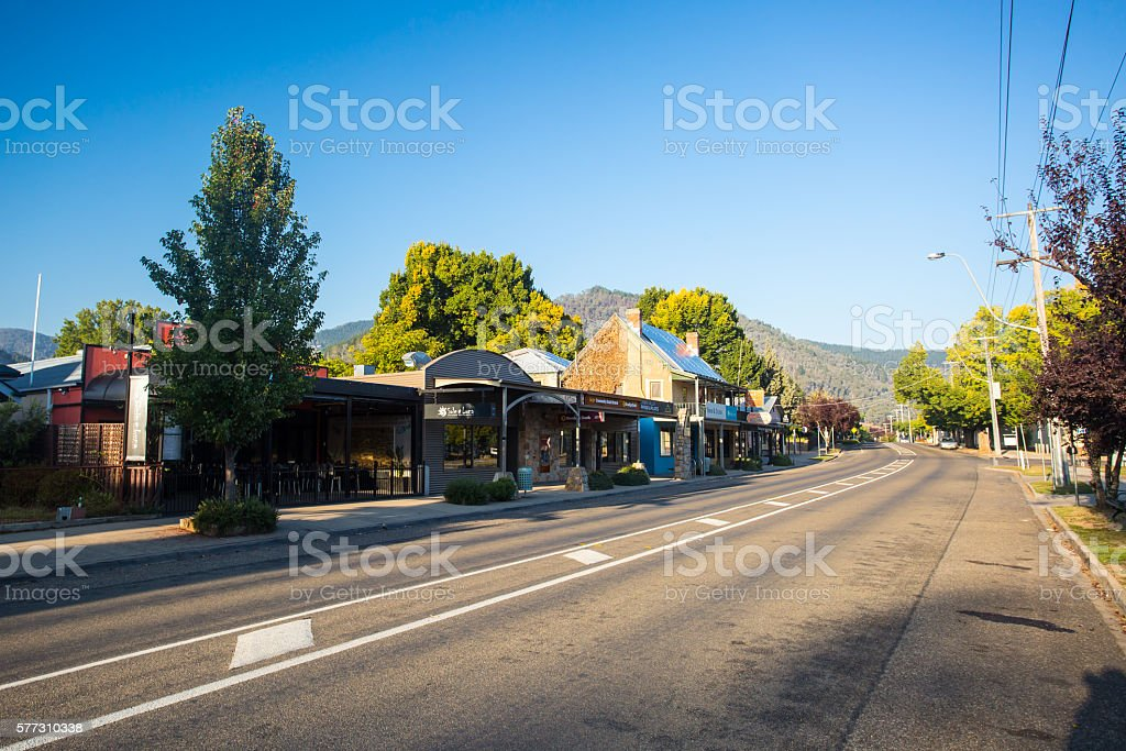 Bright Main Street stock photo
