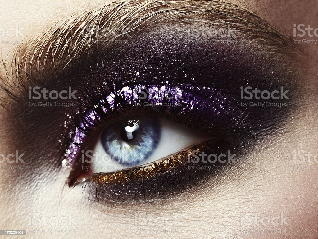 Bright make-up with glitters stock photo