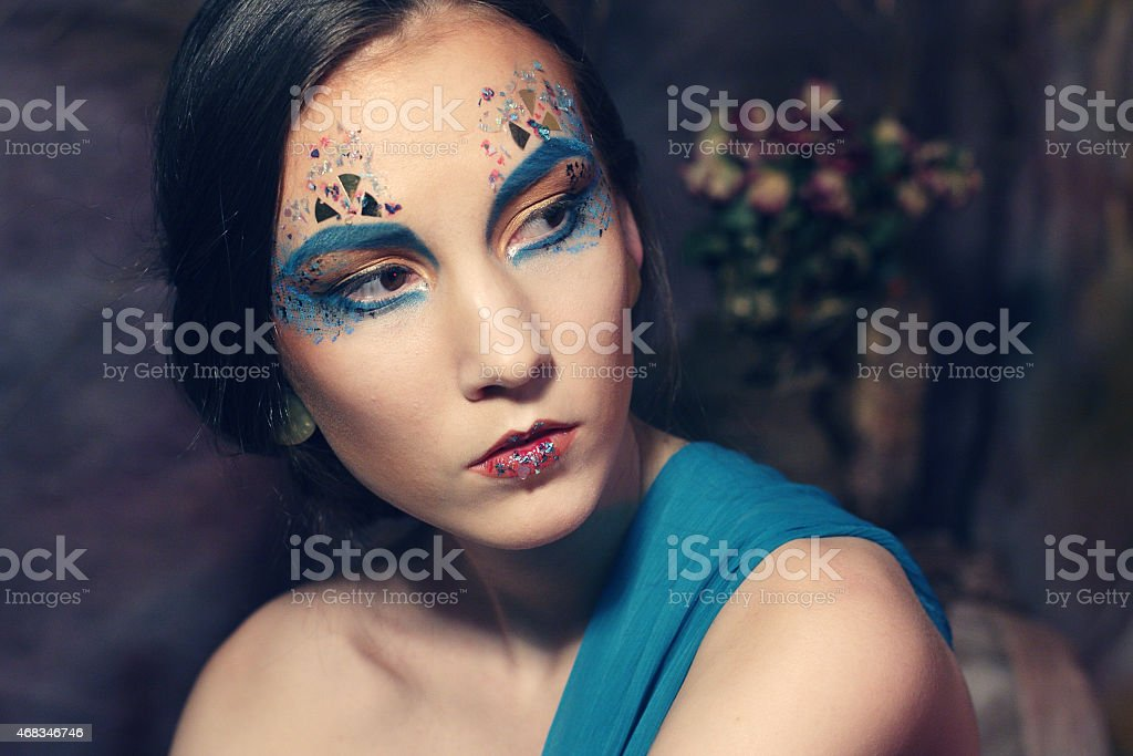 Bright Make-up.Beautiful Woman's Face royalty-free stock photo
