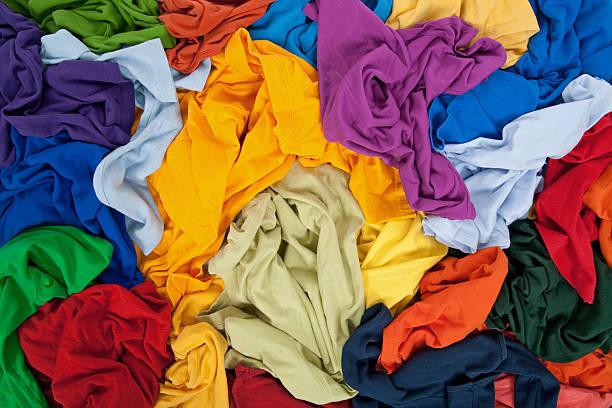 Bright messy clothing background stock photo