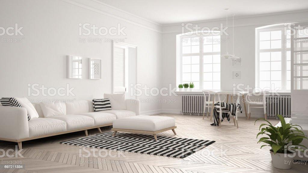 Minimalistische helles Wohnzimmer mit Sofa und Esstisch, skandinavische weiße Innenarchitektur – Foto