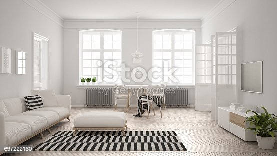 istock Bright minimalist living room with sofa and dining table, scandinavian white interior design 697222160