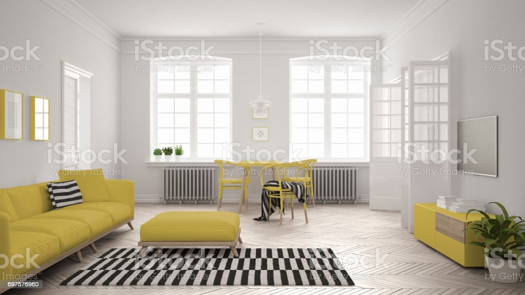 Salón Minimalista Luminoso Con Sofá Y Mesa De Comedor Diseño ...