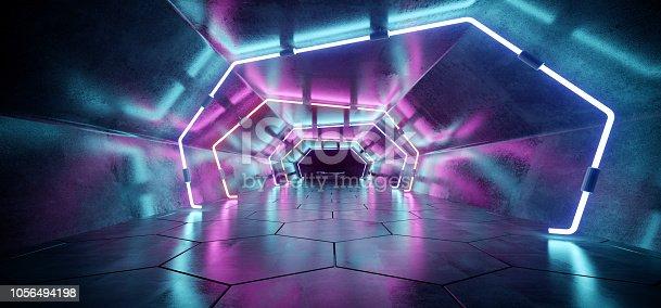 967676748 istock photo Bright Modern Futuristic Alien Reflective Concrete Corridor Tunnel Empty Room With Purple And Blue Neon Glowing Lights Hexagon Floor Background 3D Rendering 1056494198