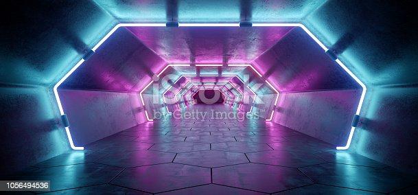 967676748 istock photo Bright Modern Futuristic Alien Reflective Concrete Corridor Tunnel Empty Room With Purple And Blue Neon Glowing Lights Hexagon Floor Background 3D Rendering 1056494536
