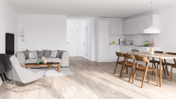 bright modern interior - nelleg stock photos and pictures