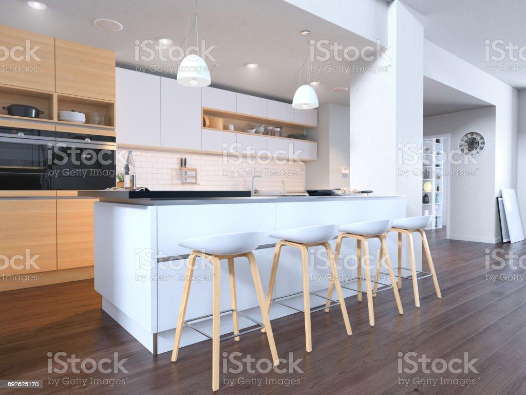 Helle moderne weiße Küche – Foto