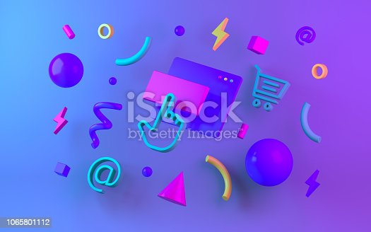 istock Bright multicolor geometric shapes for web design. 3d render 1065801112