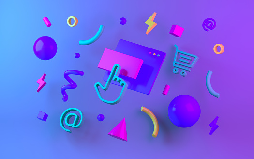 istock Bright multicolor geometric shapes for web design. 3d render 1065801112