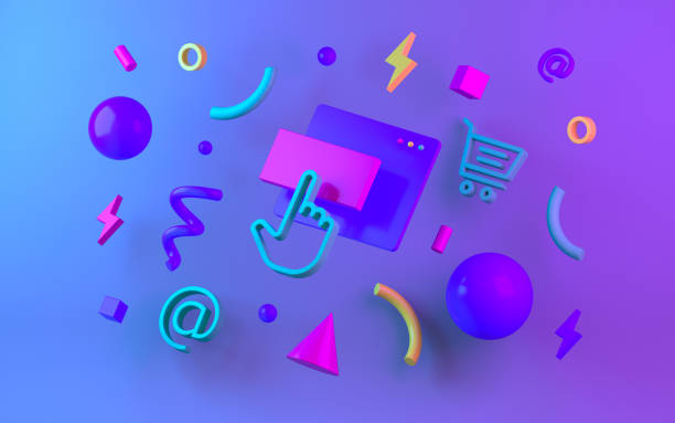 bright multicolor geometric shapes for web design. 3d render - advertising isometric stock photos and pictures