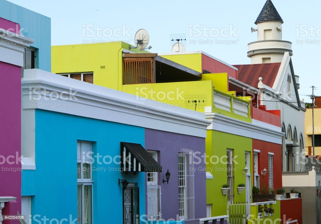 Bright multicolored facades of buildings in Bo-Kaap district of Cape Town, South Africa. Also known as Mayal Quarter stock photo
