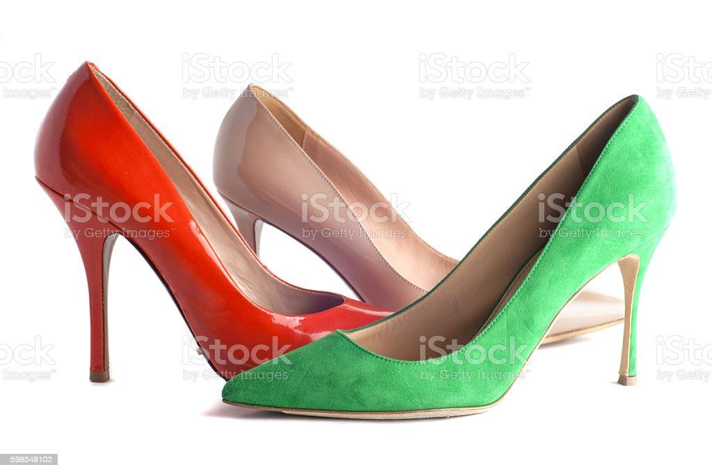 Lumineux multicolore chaussures femmes talons hauts photo libre de droits