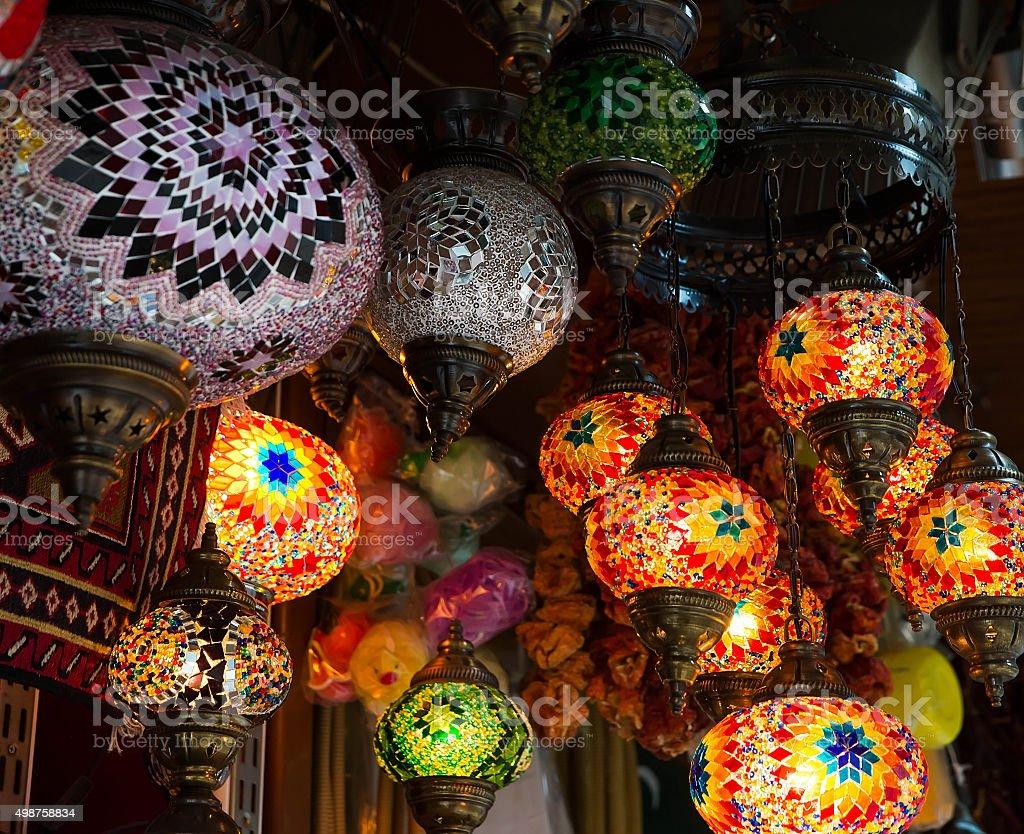 Bright multi-colored lamp stock photo