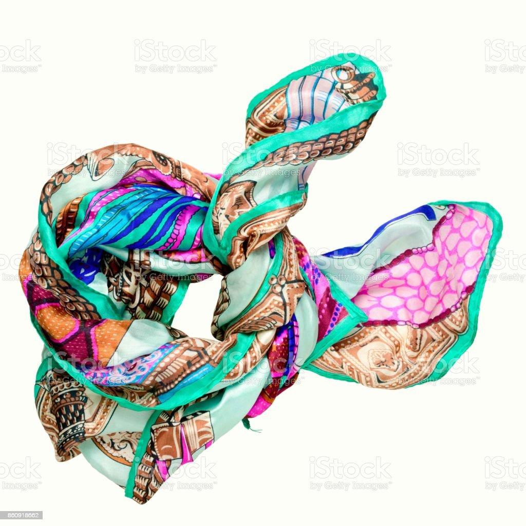 pañuelo de seda multicolor brillante aislado sobre fondo blanco - foto de stock
