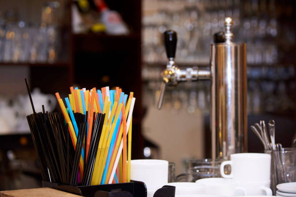 Bright multicolored straws on the bar. Bright multicolored straws on the bar. drinking straw stock pictures, royalty-free photos & images