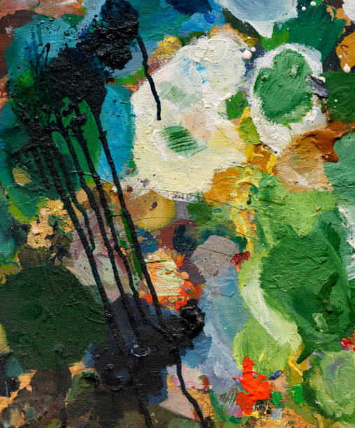 Bright multicolour abstract paint spots stock photo