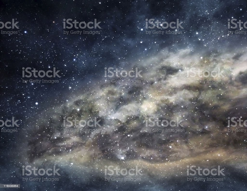 Bright nebula in the midst of dark, starry outer space stock photo