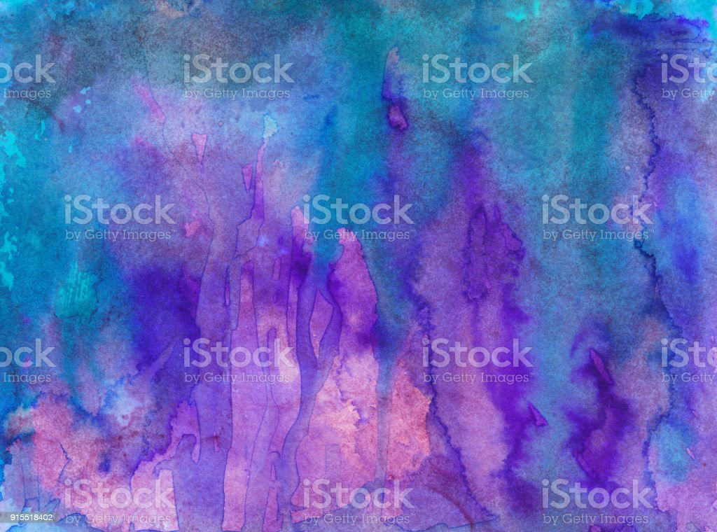 Bright neon blue and purple hand painted background stock photo