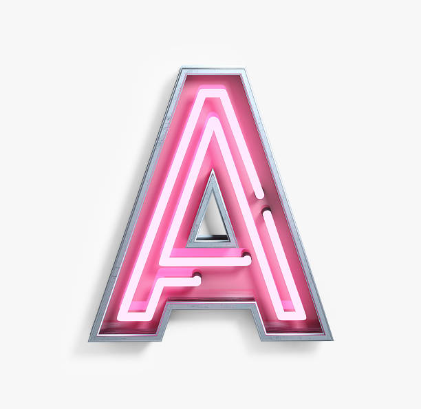 bright neon font. letter a - the alphabet stock photos and pictures