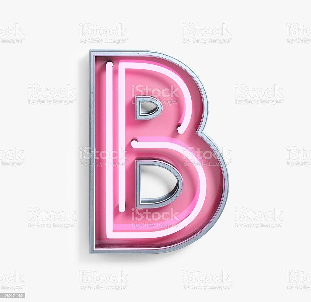 Bright Neon Font. Letter B stock photo