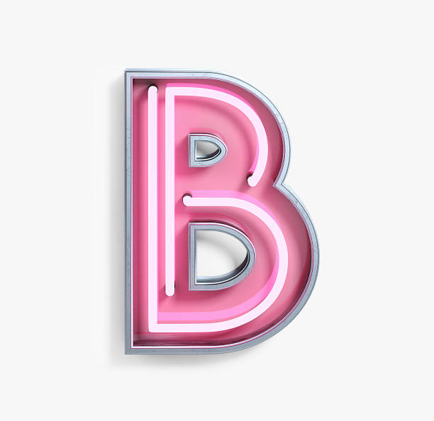 Bright Neon Font. Letter B stock photo
