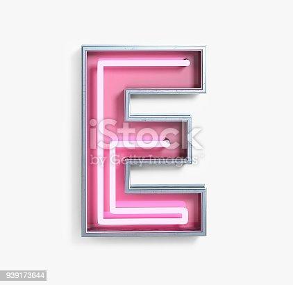 istock Bright Neon Font. Letter E 939173644