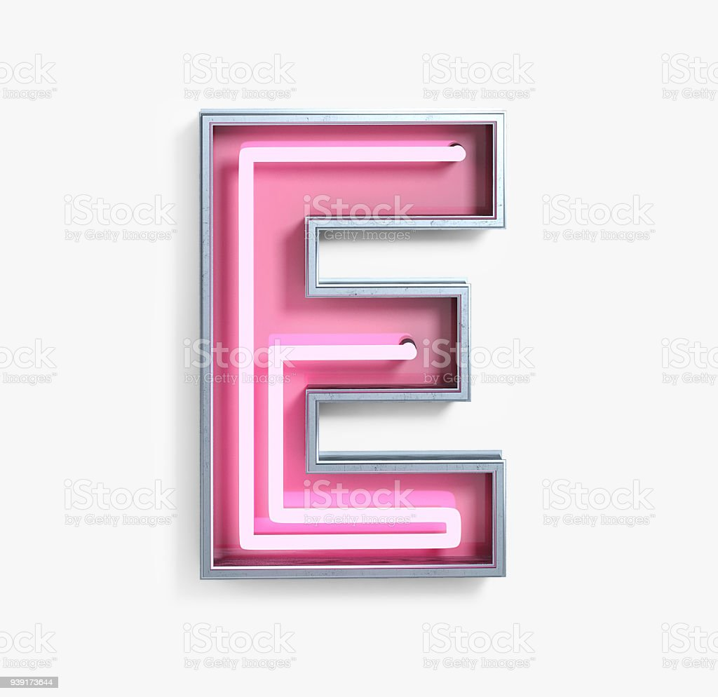 Bright Neon Font. Letter E stock photo