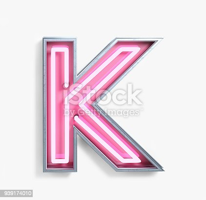 939169648istockphoto Bright Neon Font. Letter K 939174010