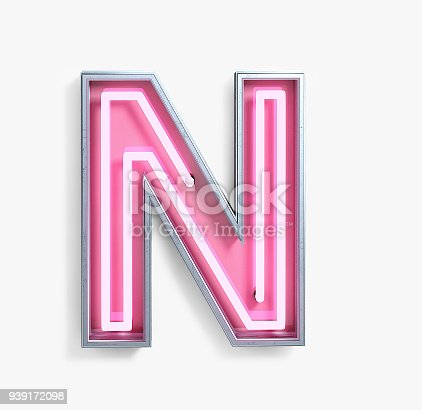 istock Bright Neon Font. Letter N 939172098