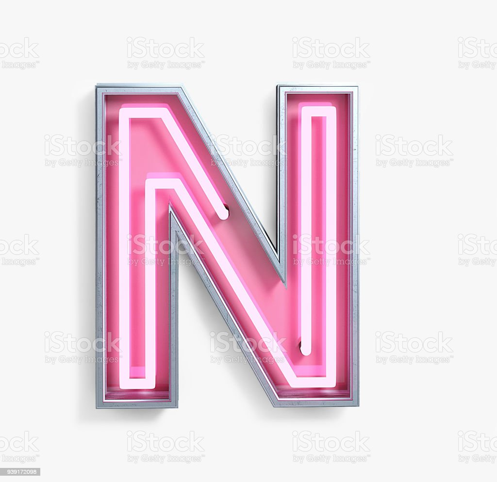 Bright Neon Font. Letter N stock photo