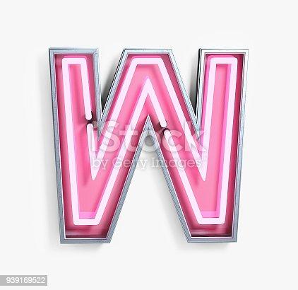 istock Bright Neon Font. Letter W 939169522