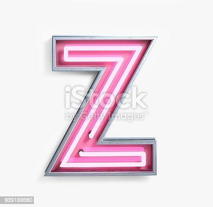 939169648istockphoto Bright Neon Font. Letter Z 939169580