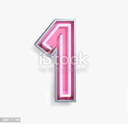 istock Bright Neon Font. Number 1 939171788