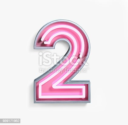 istock Bright Neon Font. Number 2 939171952