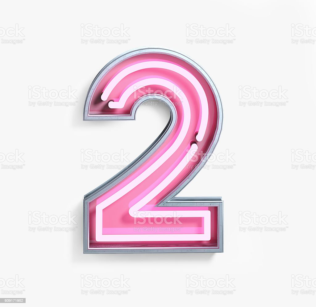 Bright Neon Font. Number 2 stock photo