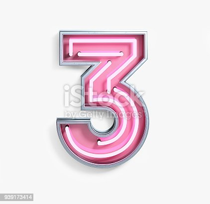 istock Bright Neon Font. Number 3 939173414