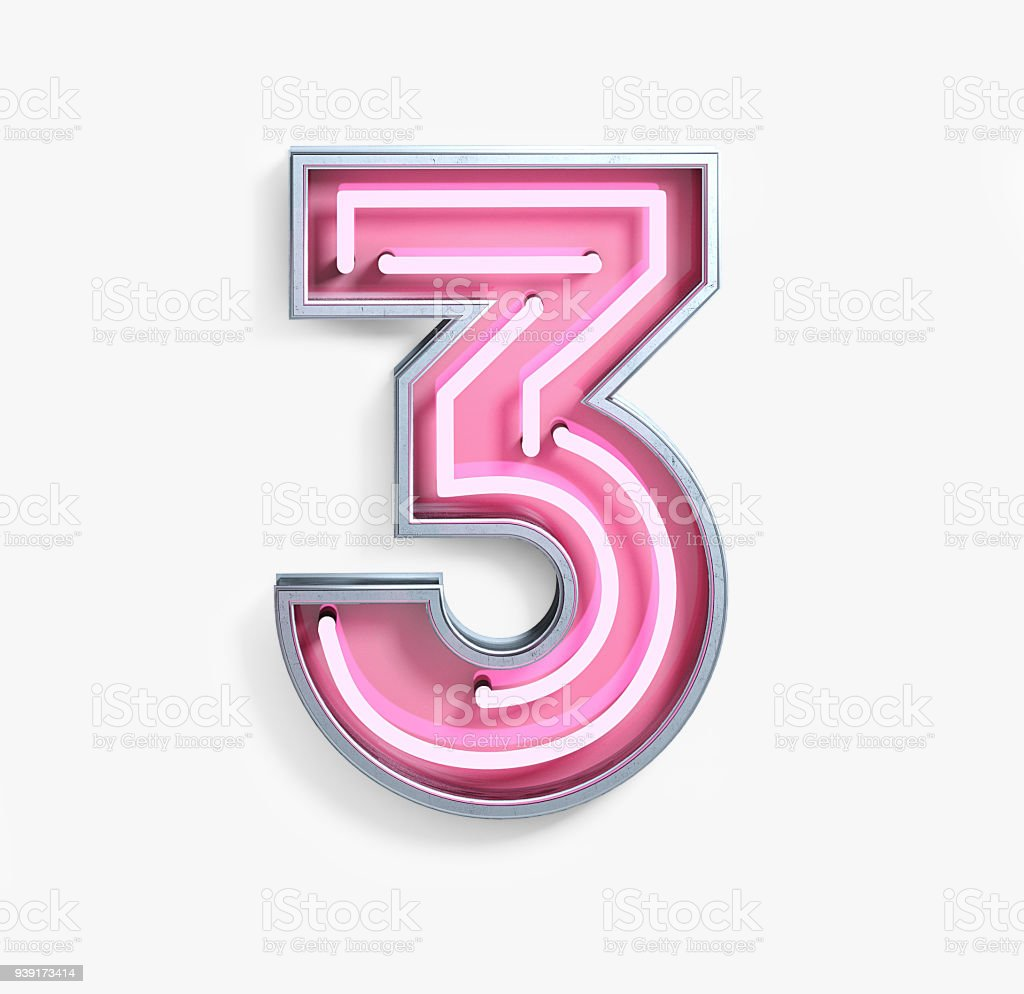 Bright Neon Font. Number 3 stock photo